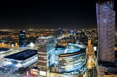 Fototapeta View of the center of Warsaw at night
