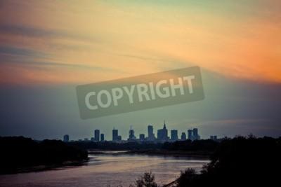 Fototapeta View of Warsaw from the Siekierkowski Bridge.