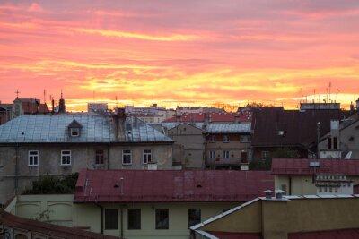 Fototapeta Viewpoint na zachodzie słońca miasta Lublin, Polska
