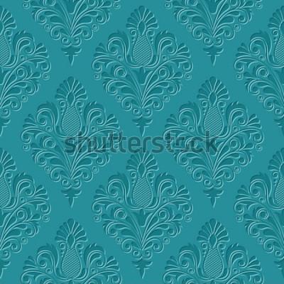 Fototapeta Vintage adamaszku wzór. Klasyczna luksusowa konsystencja tapet, opakowań, tekstyliów. Ilustracja wektorowa