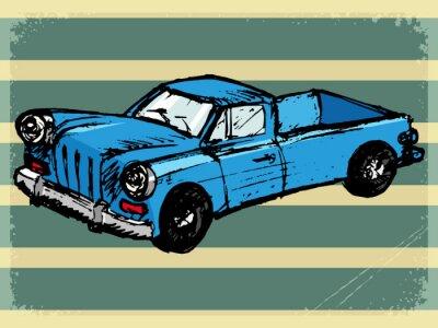Fototapeta vintage background with retro car