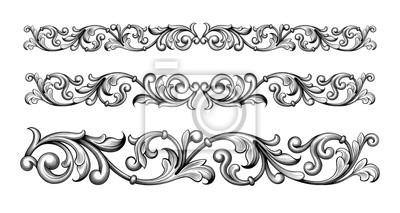 Fototapeta Vintage barokowy wiktoriański ramka granica monogram kwiatowy wygrawerowany przewiń ornament liść retro kwiatowy wzór dekoracyjny projekt tatuaż czarno-biały filigran kaligrafia wektor tarcza heraldyc
