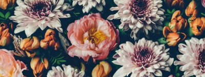 Fototapeta Vintage bouquet of beautiful flowers on black. Floral background. Baroque old fashiones style. Natural pattern wallpaper or greeting card