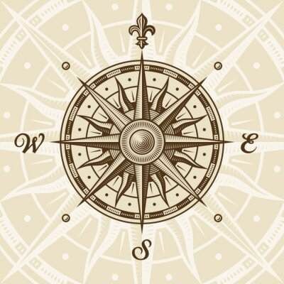 Fototapeta Vintage compass rose