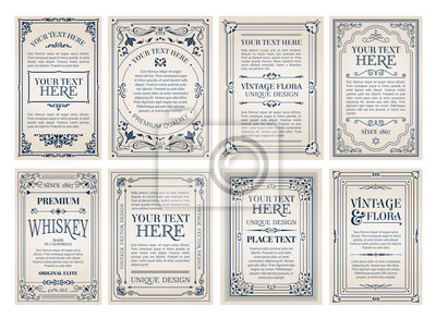 Fototapeta Vintage creative cards template with beautiful flourishes ornament elements. Elegant design for corporate identity, invitation, book covers.
