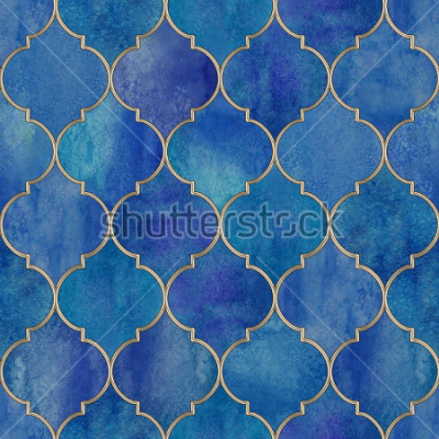 Fototapeta Vintage decorative moroccan seamless pattern with glittering line. Watercolor hand drawn blue purple stained-glass window design. Watercolour oriental elements. Print for textile, wallpaper, wrapping.