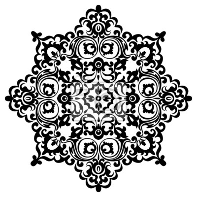 Fototapeta Vintage decorative pattern mandala black
