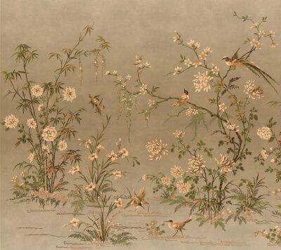 Fototapeta vintage floral background wallpaper planet bards old panting décor wall