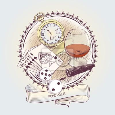 Vintage Ilustracja do hazardu