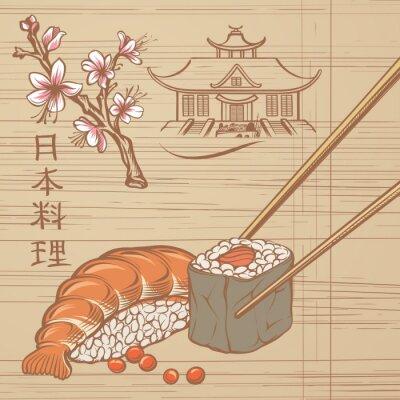 Fototapeta Vintage Ilustracja Sushi i japońskiej Decor