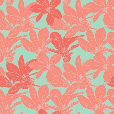 Fototapeta Vintage kwiaty magnolii szwu.