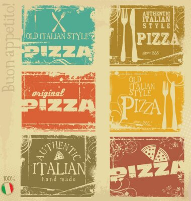 Fototapeta vintage labels pizzy