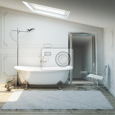 Vintage łazienka Z Lustrem Dywan I Oświetlenie Fototapety Redro