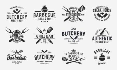 Fototapeta Vintage logo set for Meat Restaurants. Hipster barbecue emblems. Restaurant labels, emblems, logo. Logo template for bbq. steakhouse, butcher, grill bar. Vector illustration