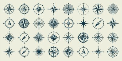 Fototapeta Vintage marine wind rose, nautical chart. Monochrome navigational compass with cardinal directions of North, East, South, West. Geographical position, cartography and navigation. Vector illustration.