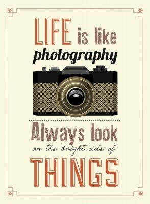 Fototapeta Vintage Old Camera Poster drukarski