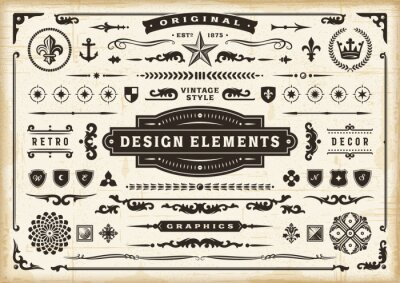 Fototapeta Vintage Original Design Elements Set. Editable EPS10 vector illustration in retro style with transparency.