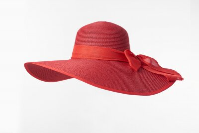 Fototapeta Vintage Panama hat, Woman hat isolated on white background, Women's beach hat, red hat.