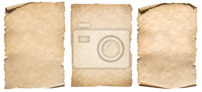 Fototapeta Vintage paper or parchment set isolated on white