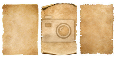Fototapeta Vintage paper or parchment sheets set isolated on white