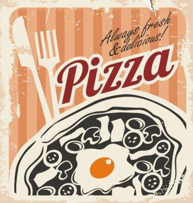 Fototapeta Vintage pizzy plakat na starym papierze tekstur