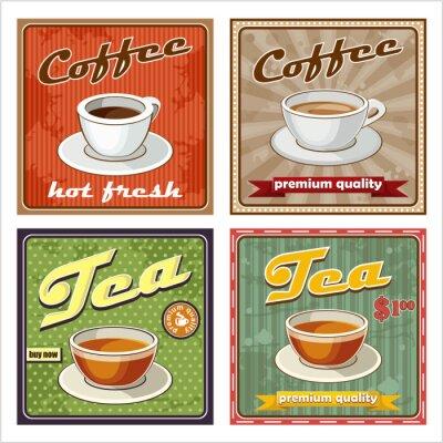 Fototapeta Vintage plakat kawa i herbata. ilustracji wektorowych
