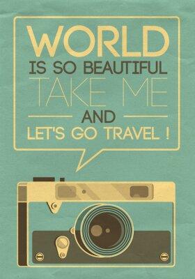 Fototapeta Vintage plakat retro zdjęcie aparatem mówiąc Let za podróż