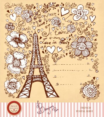 Fototapeta Vintage pocztówka z wieży Eiffla