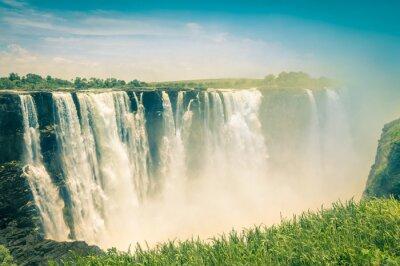 Fototapeta Vintage pocztówka z Wodospadów Wiktorii - Naturalny cud Zimb