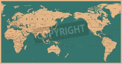 Fototapeta Vintage Political World Map Pacific Centered - wektor