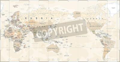 Fototapeta Vintage polityczna mapa świata Pacyfik wyśrodkowany - wektor.