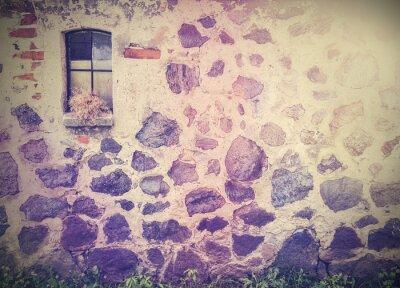 Fototapeta Vintage retro obraz z kamiennym murem z okna.