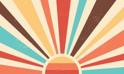 Fototapeta Vintage sun retro banner background. Colourful grunge sunburst. Vector illustration.
