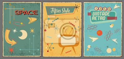 Fototapeta Vintage symbols and icons of 1950s on used background