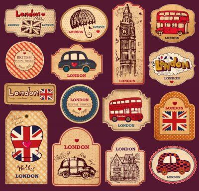Vintage tagi i etykiety z symboli Londynu