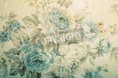 Fototapeta Vintage tapety z niebieskim wzorem kwiatowym wiktoriańskiej, stonowanych obraz