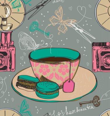 Fototapeta Vintage tea time tła, bez szwu deseń