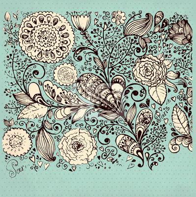 Vintage tle kwiatów