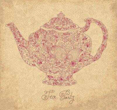 Fototapeta Vintage tło wektor z czajniczek