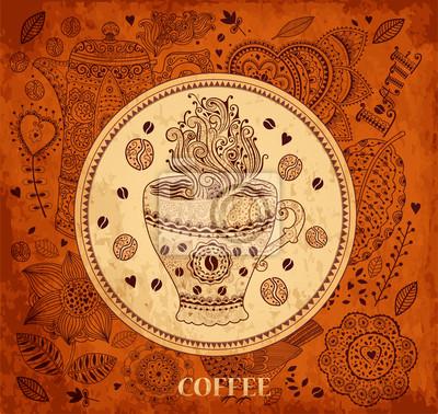 Vintage tło wektor z filiżanką kawy