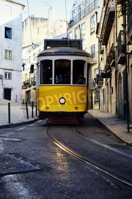 Fototapeta Vintage Trams such as these two are a common site in the Portuguese Capital of Lisbon - Portugal