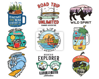 Fototapeta Vintage travel logos, vacation patches set. Hand drawn camping labels designs. Mountain expedition, road trip, surfing. Outdoor hiking emblems. Logotypes collection. Stock vector isolated on white.
