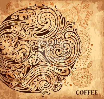 Vintage, vector, tekstury tła z kawy