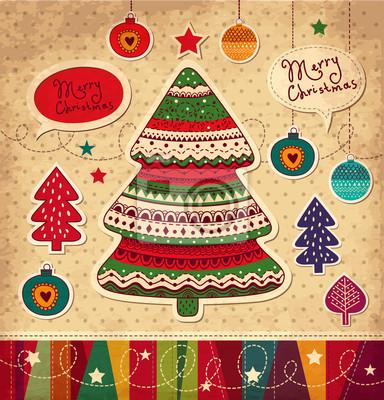 Fototapeta Vintage wektor Boże Narodzenie karty z drzewa