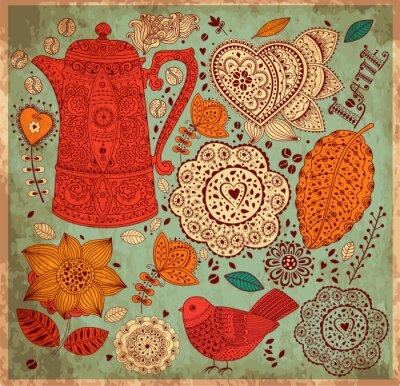 Vintage wektora tle z wzorca do kawy