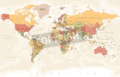 Fototapeta Vintage World Map - Detailed Vector Illustration