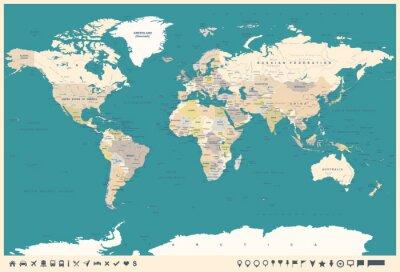 Fototapeta Vintage World Map i Markers - ilustracja