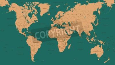 Fototapeta Vintage World Map - Szczegółowe Ilustracji Wektorowych