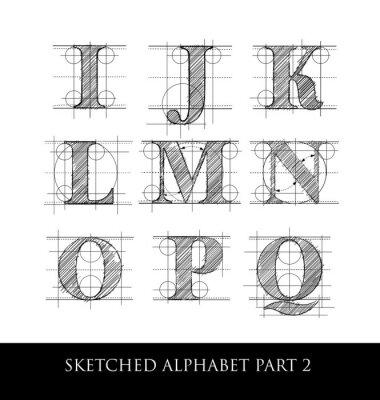 Fototapeta Vintage wyciągnąć rękę alfabet