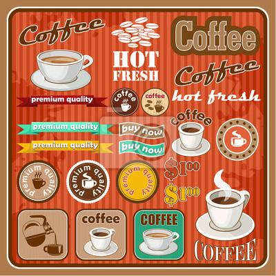 Vintage zestaw herbaty i kawy ikona. ilustracji wektorowych